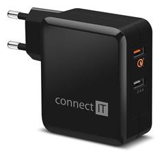 Napájací adaptér Connect IT QUICK CHARGE 3.0 2x USB (3,4A) černý