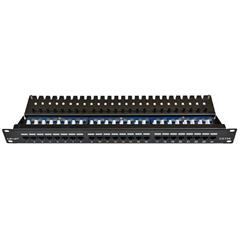 "Patch panel UTP cat.5e 24p. (horní zářez - ""KRONE"") - black"