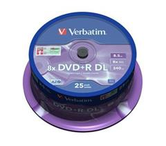 Médium Verbatim DVD+R 8,5GB 8x DoubleLayer MATT SILVER spindl 25pck/BAL
