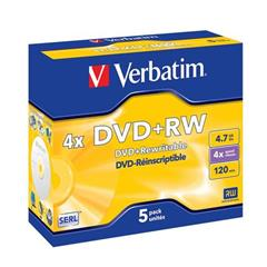 Médium Verbatim DVD+RW 4,7GB 4x box 5pck/BAL