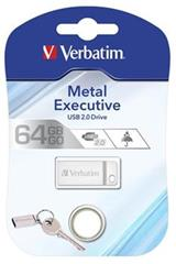 Flashdisk Verbatim Metal Executive USB 2.0 Drive 64GB Stříbrný